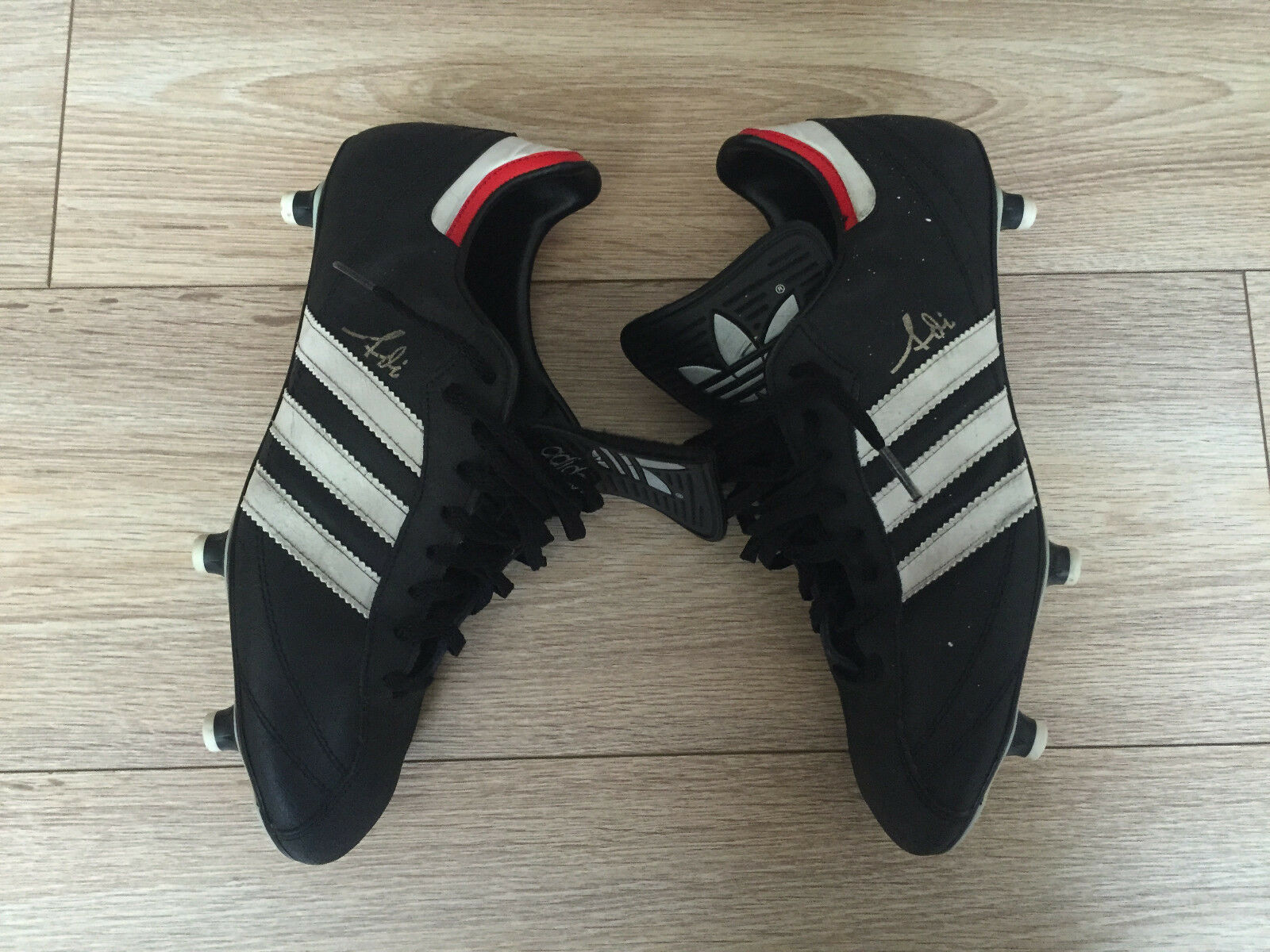 Adidas botas De Fútbol Soccer Hecho en Alemania occidental autógrafo Raro