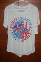 Party Crasher Shirt White Size Xl Women Red White Blue By Lol Vintage
