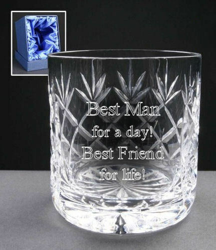 Personalised 24/% Lead Crystal 8oz Whisky Glass Wedding Best Man In Silk Gift Box