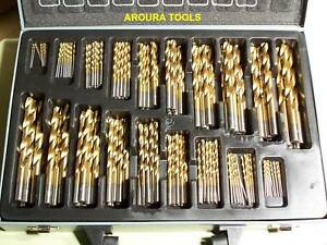 DRILL-BITS-170-PC-HSS-TITANIUM-COATED-NEW-IN-STEEL-CASE