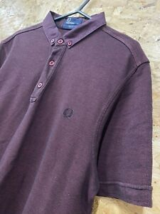Pour-homme-FRED-PERRY-Pique-Polo-Shirt-Slim-Fit-Taille-M-M-Bourgogne