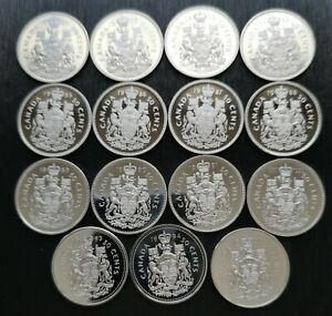 CANADA-LOT-OF-15-50-CENTS-PROOF-CAMEO-1981-1995