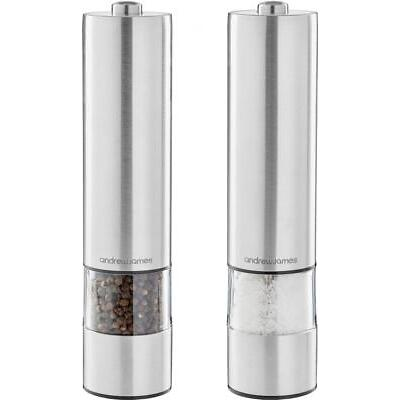 Andrew James Stainless Steel Electric Salt And Pepper Mill Grinder Shaker Set