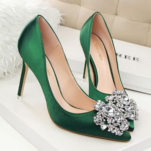 Nouveau Femmes Vert Satin Rouge Point Toe Strass Talons Hauts Mariée Escarpins Mariage Chaussures