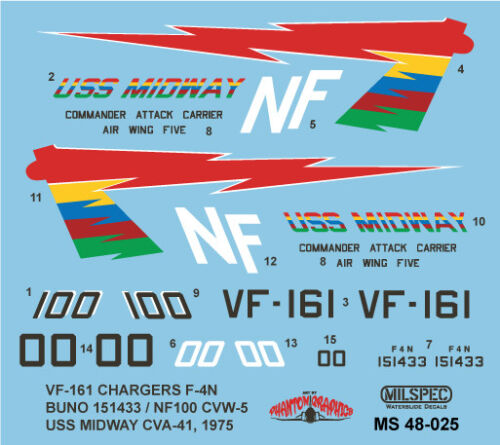F-4N PHANTOM VF-161 CHARGERS 1//48 SCALE 1975 MS 48-025 MILSPEC DECAL