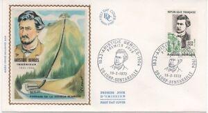 FRANCE-1972-F-D-C-SOIE-ARISTIDE-BERGES-OBLIT-LE-19-2-72-LORP-SENTARRAILLE