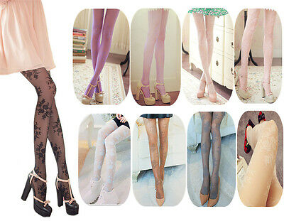 Sexy Ladies Women Vintage Flower Floral Lace Hollow Pantyhose Tights Stockings