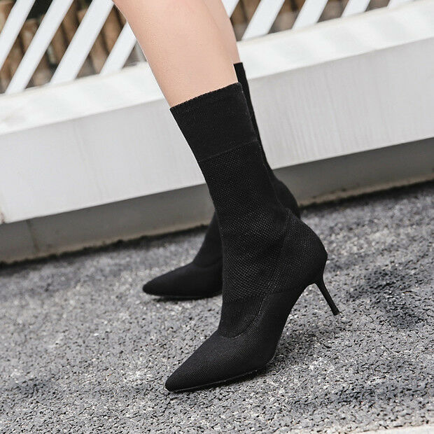 Stivali stivaletti bassi eleganti scarpe stiletto 6.5 cm nero eleganti bassi simil pelle 9427 a006f7