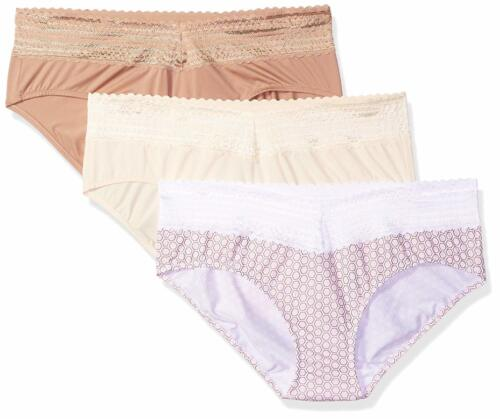 Warner/'s Women/'s Blissful Benefits No Muffin Top 3 Pack Lace Hipster Panties,