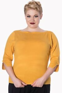 Retro Sweater Plus Blouse Vintage Rockabilly Mustard Banned Top Addicted Apparel xwAFtKq
