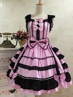 Ladies Victorian Lolita Gothic Barbie Palace Retro Chiffon Lace Princess Dress