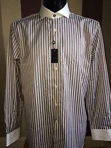 Mens-Duchamp-Blue-amp-White-amp-Red-Shirt-Size-15-034-Collar