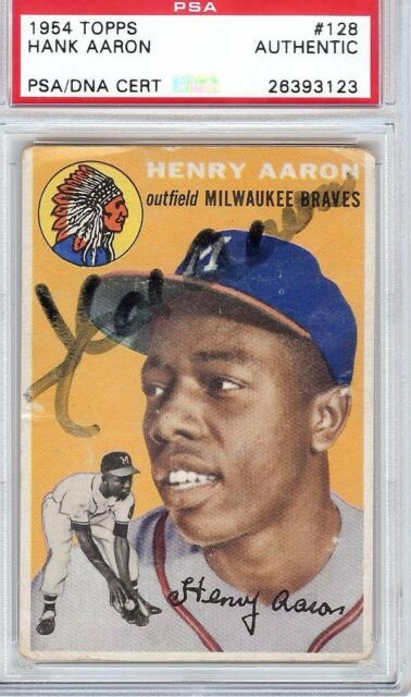 1954 Topps Hank Aaron RC Braves #128 Baseball Card Authentic Autograph PSA DNA
