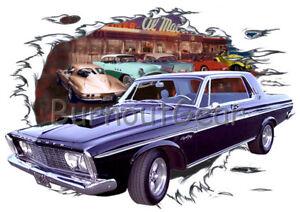 1963 Black Plymouth Sports Fury Custom Hot Rod Diner T-Shirt 63 Muscle Car Tees