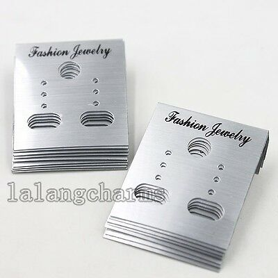 100pcs Lots Silvery Plastic Display Cards Fit Earring Displays Jewelry Package C