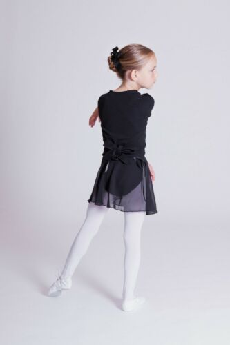 """schwarz Ballettjacke Jacke Bolero tanzmuster Kinder Ballett Wickeljacke /""""Mandy/"""""""