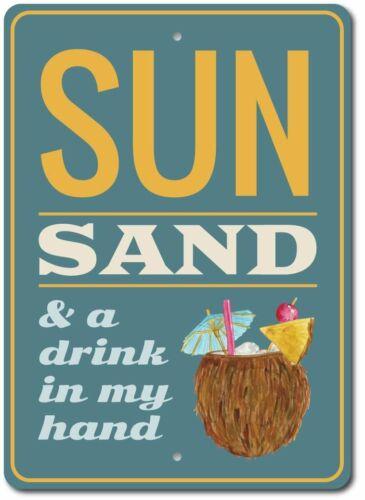 Coconut Drink Sign Beach Phrase Decor Beach Phrase Aluminum Sign ENSA1003358