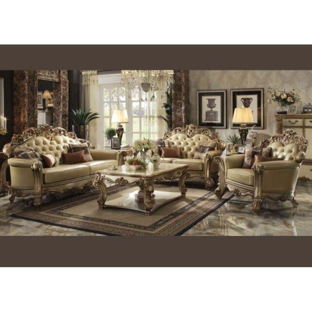 Acme Furniture Vendome Gold Sofa and Loveseat Living Room Set