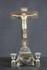 Hausaltar Kruzifix Kirche Weihwasser Holz Metall Kerzenständer