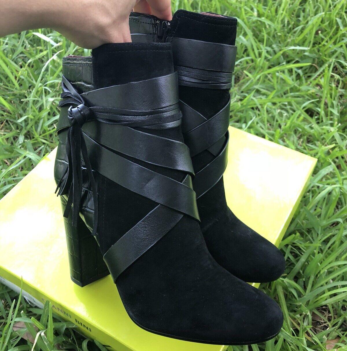 Gianni Bini Leather Gladiator Strappy stivali stivali stivali avvioies High Heel scarpe 7M nero 82ccc7