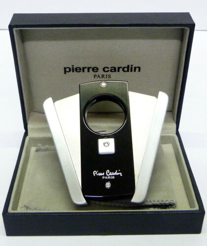 770-01 Special Offer Pierre Cardin Cigar Cutter in Black and Steel Finish