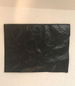DORIN-FRANKFURT-Embossed-Black-Leather-Snap-Flap-Clutch-Handbag-Purse