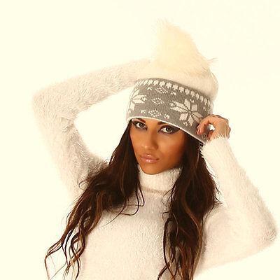 Mütze Norweger braun beige natur weiß grau Bommel Bommelmütze Strickmütze Damen