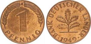 BRD 1 Pfennig 1949 J - Bank deutscher Länder (5) prägefrisch 58519
