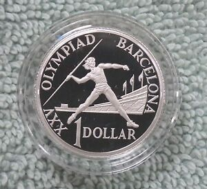 #C15. AUSTRALIAN 1992 BARCELONA OLYMPIC SILVER PROOF $1 ...