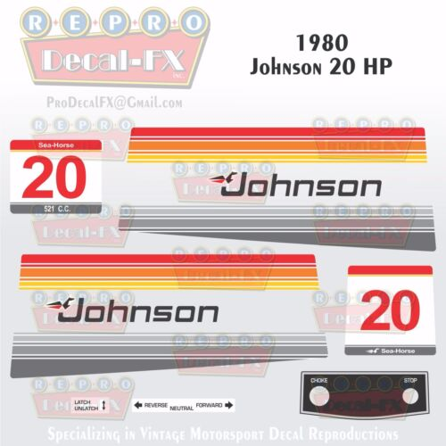 1980 Johnson 20 HP Sea-Horse Outboard Reproduction 13 Pc Marine Vinyl Decals