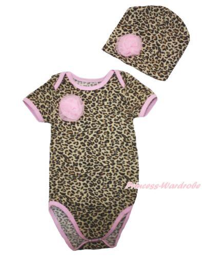 Newborn Baby Rosettes Pink Trim Leopard One Piece Bodysuit Jumpsuit /& Hat NB-12M