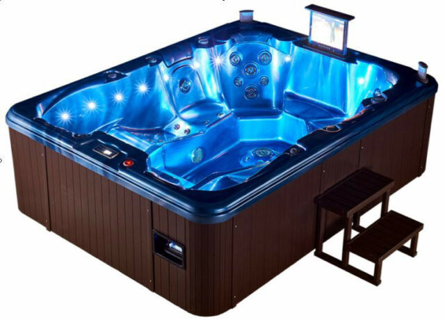 Extended Length Double Lounger 7 Person Outdoor Hot Tub Whirlpool ...
