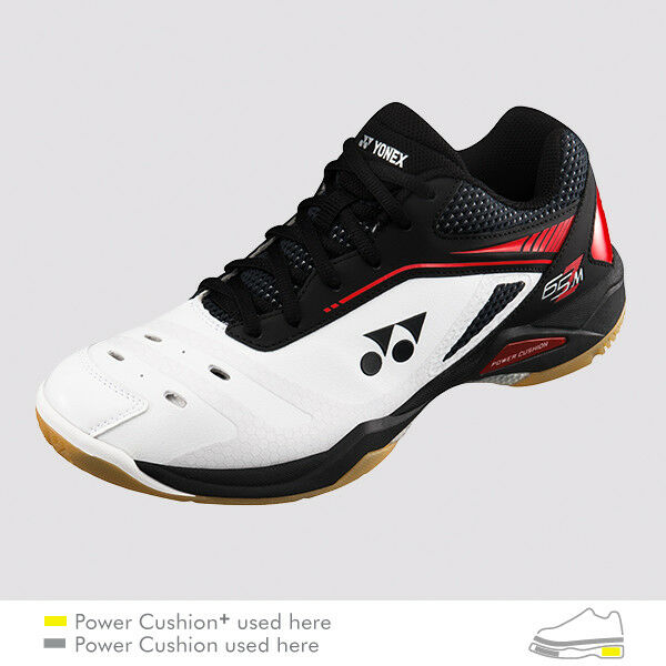 Yonex Badminton Squash Indoor chaussures SHB65Z, Power Cushion+, blanc rouge