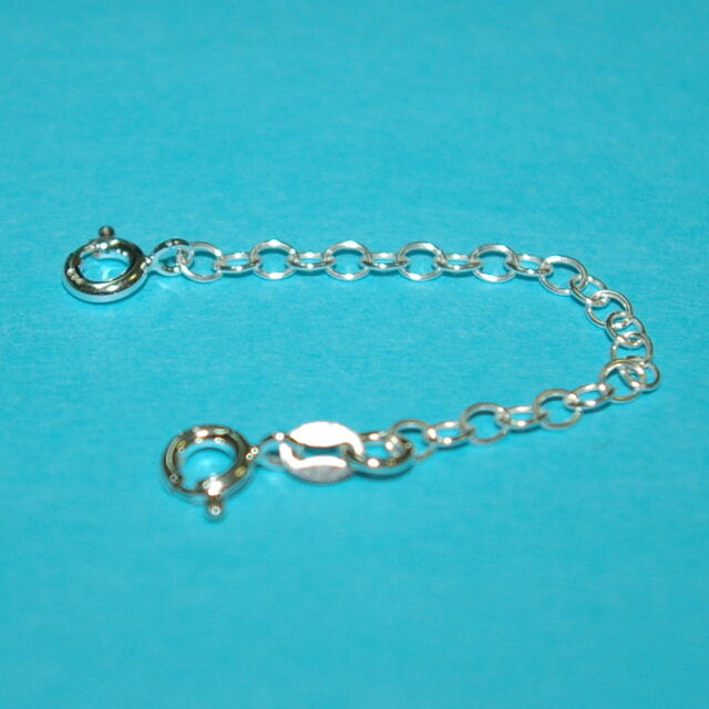 """6 pieces Sterling Silver 925 3"""" Safety CHAIN EXTENDERS with 2 Spring Clasps"""