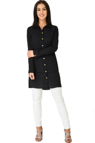 8-18 Q97 Women/'s Ladies Long Sleeve Button Shirt Style Shift Midi Dress
