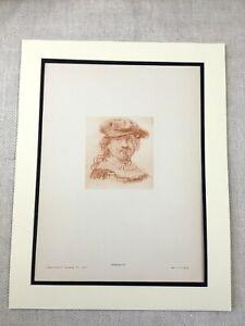 1920 Antico Stampa Rembrandt Autoritratto Olandese Vecchio Master Disegno