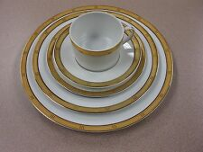 """5 Piece Place Setting Bernardaud Limoges France """"Roulette"""" Pattern FREE SHIPPING"""