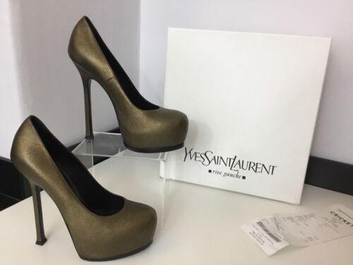 Ysl Shoes Court Eu37 Bronze Malibu Heels Uk4 Gold Tribute Immaculate 6qr6BSO7