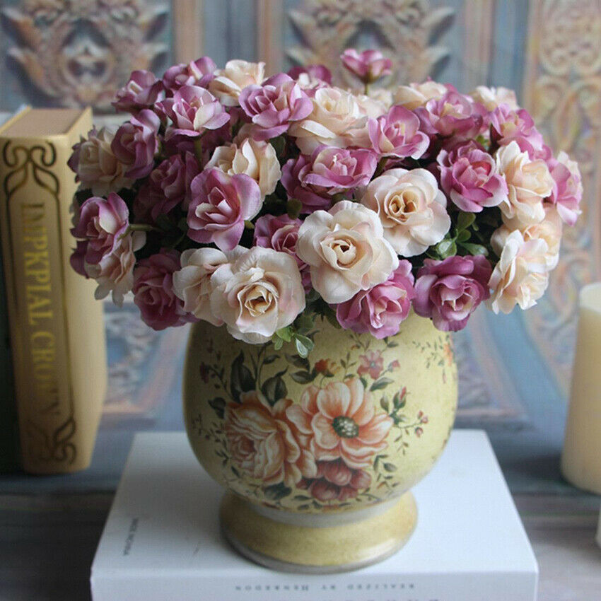 Details about  /Artifical Fake Plastic small Silk Flowers Wedding Bouquet Hot Home R4L8