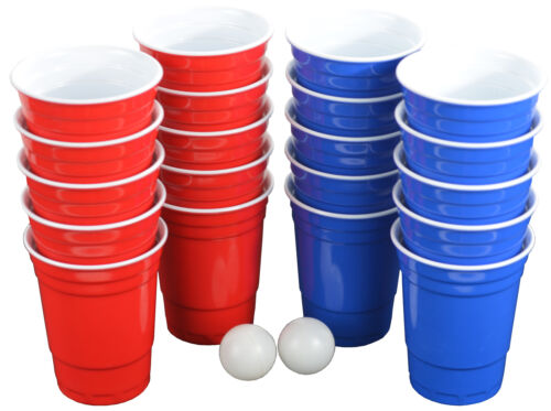 Professional Beer Pong Set 22 Hard Plastic Cups 4 Balls Drinking Party Game Gift
