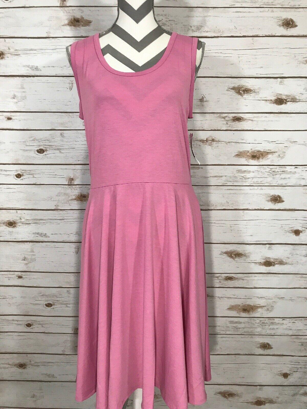 L Large LuLaRoe Nicki Sleeveless Pocket Dress Solid Rosa NWT