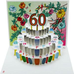 Karte 60 Geburtstag.Pop Up 3d Karte Geburtstagskarte 60 Geburtstag Gutschein