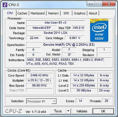 Intel Xeon E5-2695 v3 ES LGA2011-3 14C Compatible with X99 i7-6850K 6900K 6950X