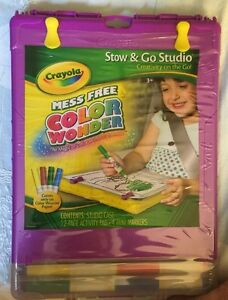 Crayola NEW Purpl Color Wonder Mess Free Stow Go Studio Travel Lap Drawing Board