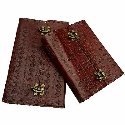 Handmade Real Leather Diary Journal Sketchbook Embossed Design - Various Sizes