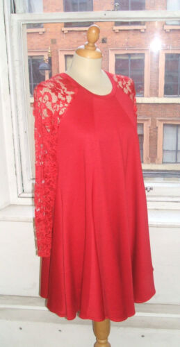 Smock Baylis /& Knight RED Lace Sleeve SWING Drape Dress Elegant