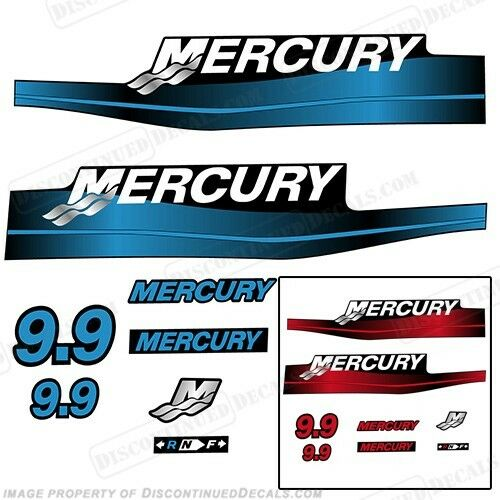 Mercury 9.9hp Outboard Decal Kit bluee or Red 9.9 1999-2006 All Models Available