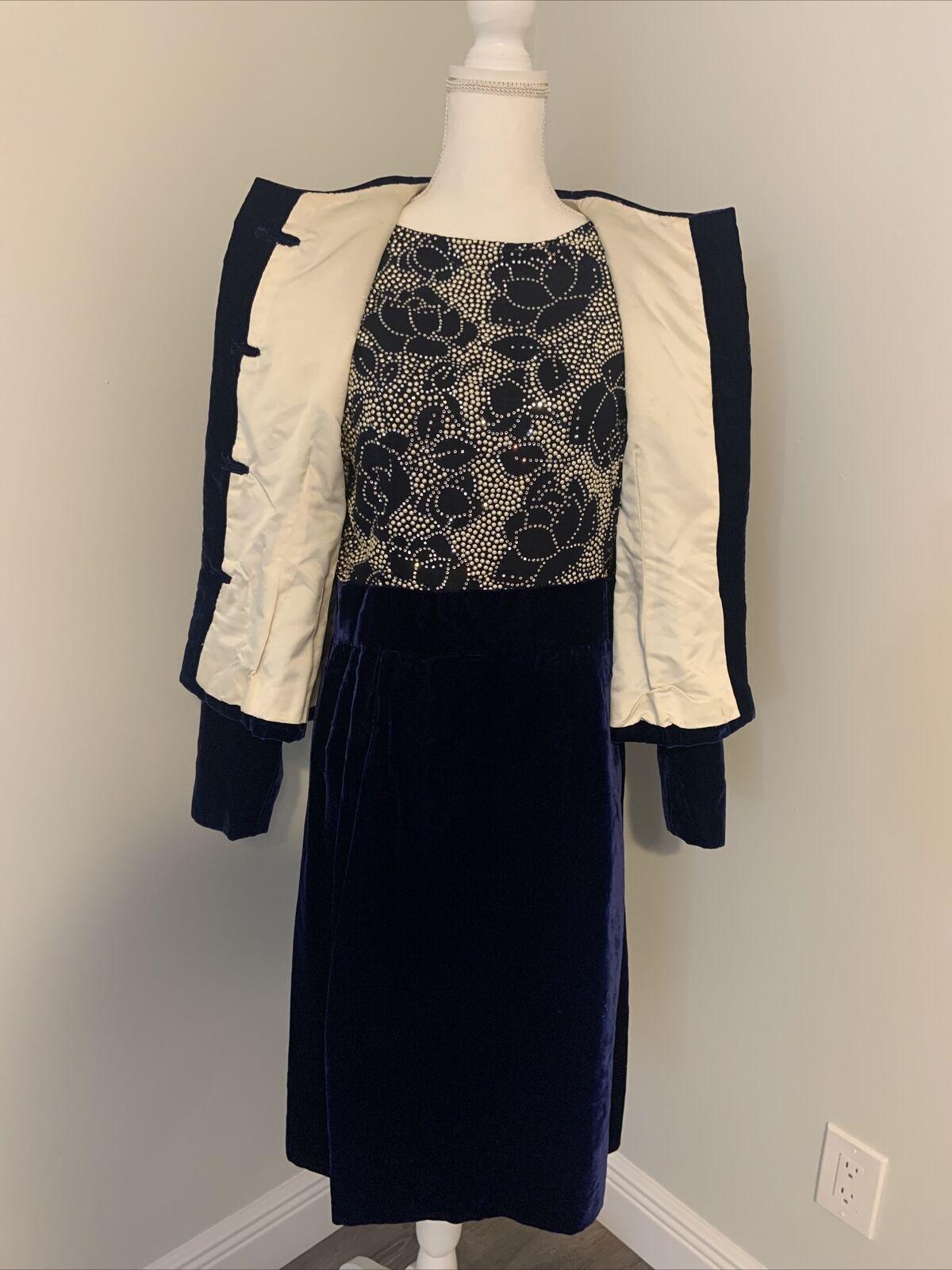 Arnold Scaasi Vintage Couture Blue Velvet Dress w… - image 2