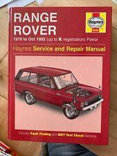 up to K Reg 0606 Haynes Manual Range Rover V8 3.5 3.9 Petrol 1970-92