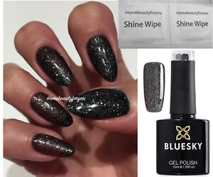 BLUESKY-GEL-POLISH-BLACK-SILVER-GLITTER-ABYSS-VIP-03-NAIL-UV-LED-SOAK-OFF-2-FILE